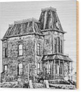 Bates Motel Haunted House Black And White Wood Print by Paul W Sharpe Aka Wizard of Wonders
