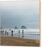 Beach Fun At Ecola  Wood Print by Robert Bales