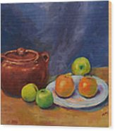 Bean Pot And Fruit Wood Print by Susie Jernigan