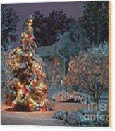 Beautiful Christmas Tree Lights Wood Print by Boon Mee