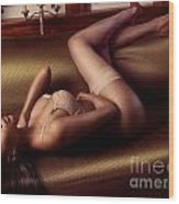 Beautiful Sexy Black Woman In Lingerie Lying On Couch Wood Print by Oleksiy Maksymenko