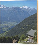 Beautiful View From Riederalp - Swiss Alps Wood Print by Matthias Hauser