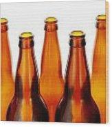 Beer Bottles Wood Print by Jim Hughes