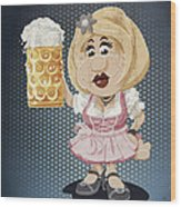 Beer Stein Dirndl Oktoberfest Cartoon Woman Grunge Color Wood Print by Frank Ramspott