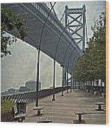 Ben Franklin Bridge And Pier Wood Print by Tom Gari Gallery-Three-Photography