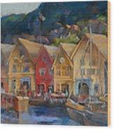 Bergen Bryggen In The Early Morning Wood Print by Joan  Jones