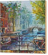 Bicycle In Amsterdam Wood Print by Leonid Afremov