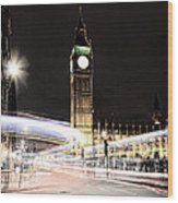 Big Ben With Light Trails Wood Print by Jasna Buncic
