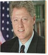Bill Clinton Wood Print by Georgia Fowler