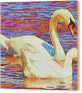 Birds On The Lake Wood Print by Jeff Kolker