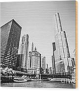 Black And White Picture Of Downtown Chicago Wood Print by Paul Velgos