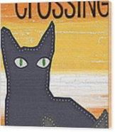 Black Cat Crossing Wood Print by Linda Woods