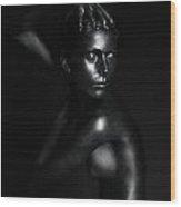 Black Statue Wood Print by Dan Comaniciu