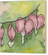 Bleeding Hearts Wood Print by Nora Blansett