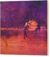 Bleeding Sunrise Abstract Wood Print by J Larry Walker