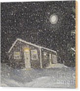 Blizzard At The Cabin Wood Print by Barbara Griffin
