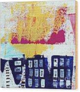 Blue Buildings Wood Print by Linda Woods
