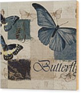 Blue Butterfly - J118118115-01a Wood Print by Variance Collections