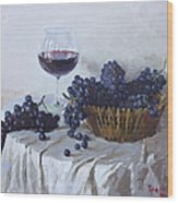 Blue Grapes And Wine Wood Print by Ylli Haruni