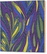 Blue Green Purple Abstract Silk Design Wood Print by Sharon Freeman