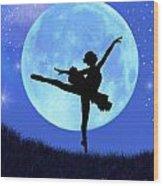 Blue Moon Ballerina Wood Print by Alixandra Mullins