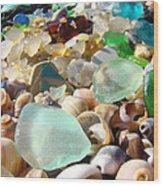 Blue Seaglass Beach Art Prints Shells Agates Wood Print by Baslee Troutman