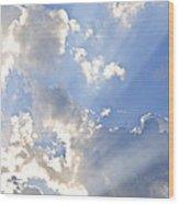 Blue Sky With Sun Rays Wood Print by Elena Elisseeva