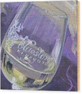 Bluestone Vineyard Wineglass Wood Print by Donna Tuten