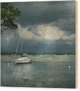 Boat - Canandaigua Ny - Tranquility Before The Storm Wood Print by Mike Savad