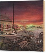 Boat - End Of The Season  Wood Print by Mike Savad