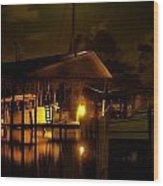 Boathouse Night Glow Wood Print by Michael Thomas
