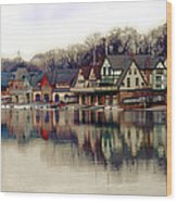 Boathouse Row Philadelphia Wood Print by Tom Gari Gallery-Three-Photography