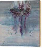 Boats At Sea Wood Print by Carolyn Doe