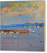 Boats In Piermont Harbor Ny Wood Print by Ylli Haruni