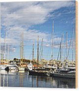 Boats In Port Vell Wood Print by Fabrizio Troiani