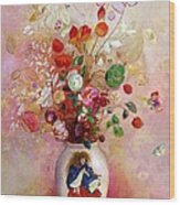 Bouquet Of Flowers In A Japanese Vase Wood Print by Odilon Redon