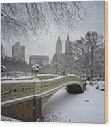 Bow Bridge Central Park In Winter  Wood Print by Vivienne Gucwa