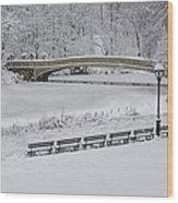 Bow Bridge Central Park Winter Wonderland Wood Print by Susan Candelario