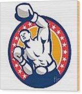 Boxer Boxing Punching Jabbing Retro Wood Print by Aloysius Patrimonio