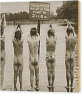 Boys Bathing In The Park Clapham Wood Print by English Photographer