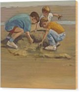 Boys In The Sand Wood Print by Sue  Darius