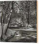 Brainards Bridge After A Snow Storm 4 Wood Print by Thomas Young