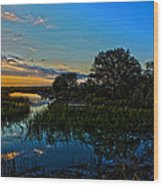 Break Of Dawn Over Low Country Marsh Wood Print by Savlen Art