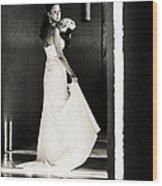 Bride I. Black And White Wood Print by Jenny Rainbow