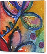 Bright Abstract Flowers Wood Print by Linda Woods