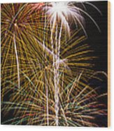 Bright Bursts Of Fireworks Wood Print by Garry Gay