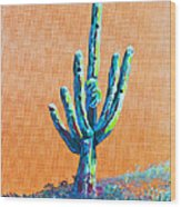 Bright Cactus Wood Print by Greg Wells