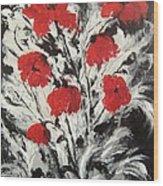 Bright Red Poppies Wood Print by Renate Voigt