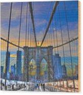 Brooklyn Bridge At Dusk Wood Print by Randy Aveille