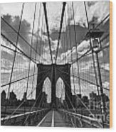 Brooklyn Bridge Wood Print by Delphimages Photo Creations